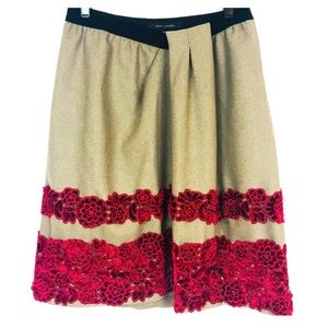MARC JACOBS Wool Red Floral Embroidered Skirt 6